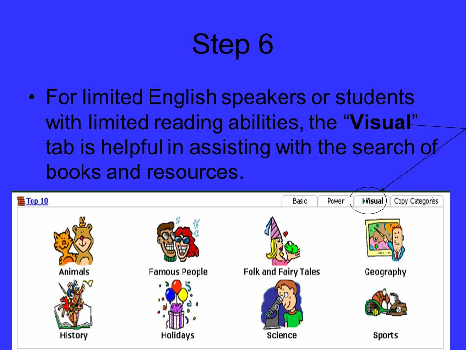 Step 6 For limited English speakers or students with limited reading abilities, the Visual tab is helpful in assisting with the search of books and resources.