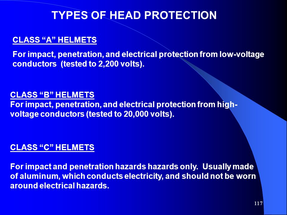 117 TYPES OF HEAD PROTECTION CLASS A HELMETS For impact, penetration, and electrical protection from low-voltage conductors (tested to 2,200 volts).