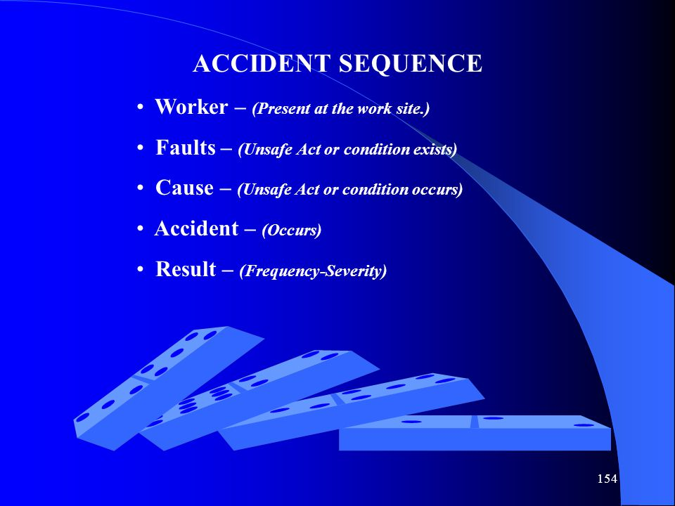 154 ACCIDENT SEQUENCE Worker – (Present at the work site.) Faults – (Unsafe Act or condition exists) Cause – (Unsafe Act or condition occurs) Accident – (Occurs) Result – (Frequency-Severity)
