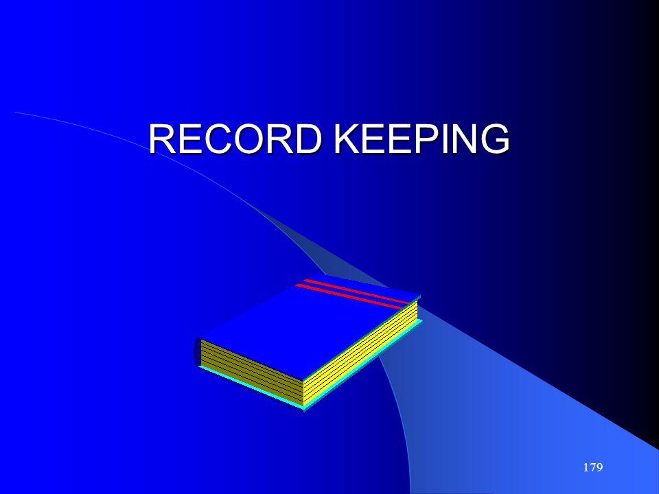 179 RECORD KEEPING