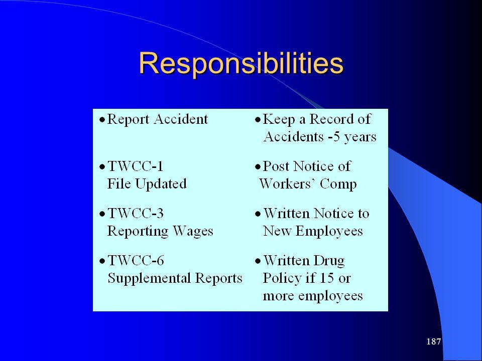 187 Responsibilities