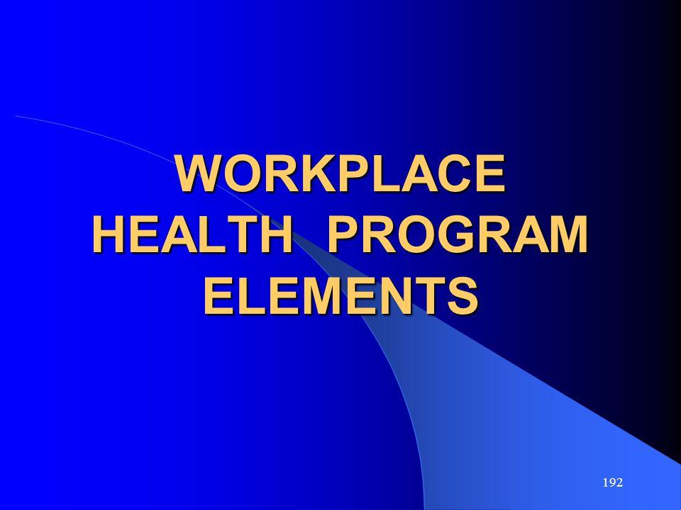 192 WORKPLACE HEALTH PROGRAM ELEMENTS