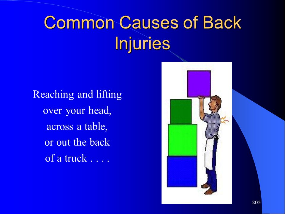205 Common Causes of Back Injuries Reaching and lifting over your head, across a table, or out the back of a truck....