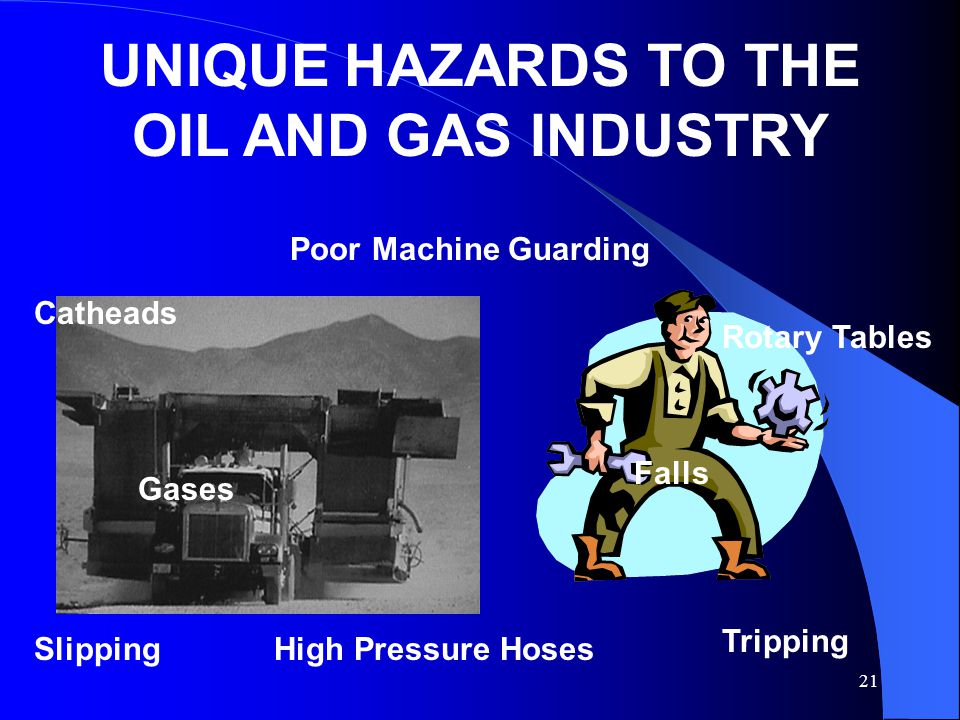 21 UNIQUE HAZARDS TO THE OIL AND GAS INDUSTRY Catheads Poor Machine Guarding Rotary Tables High Pressure Hoses Gases Falls Slipping Tripping