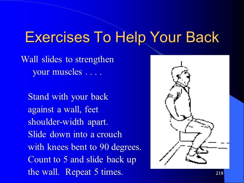 218 Exercises To Help Your Back Wall slides to strengthen your muscles....