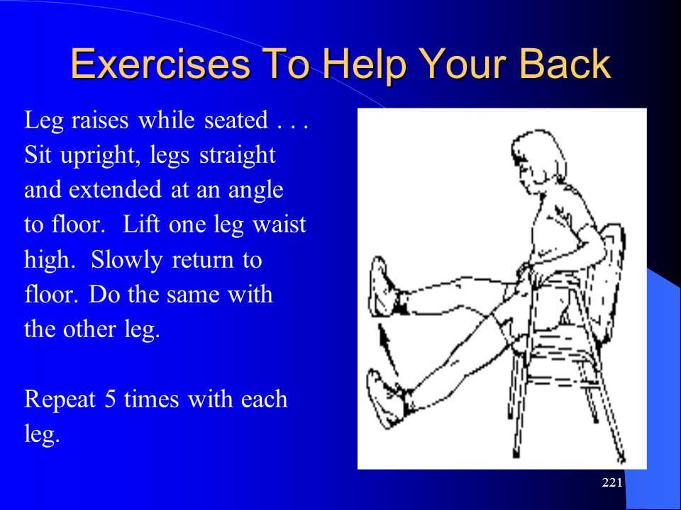 221 Exercises To Help Your Back Leg raises while seated...