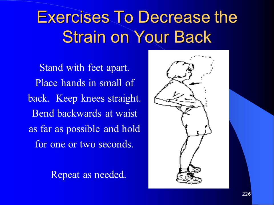 226 Exercises To Decrease the Strain on Your Back Stand with feet apart.