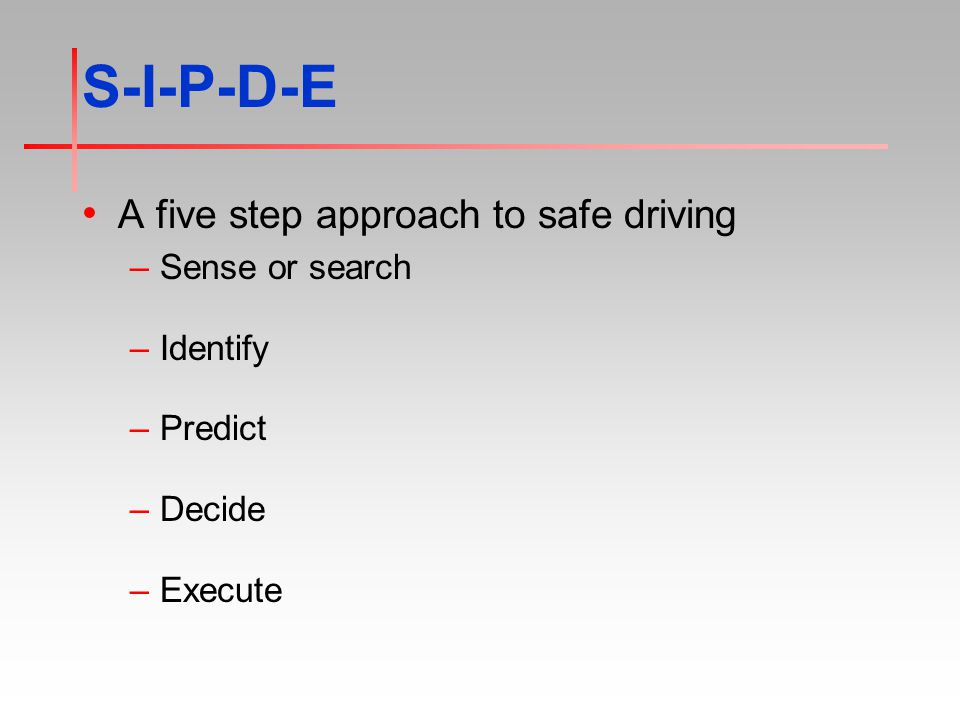 S-I-P-D-E A five step approach to safe driving –Sense or search –Identify –Predict –Decide –Execute