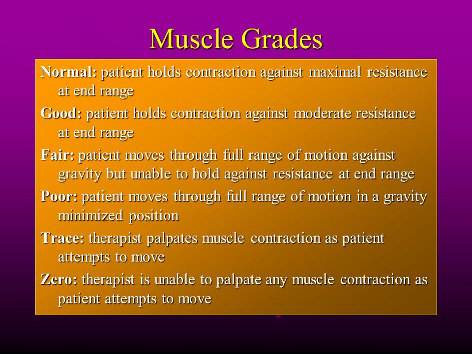 Muscle Grades Normal: patient holds contraction against maximal resistance at end range Good: patient holds contraction against moderate resistance at end range Fair: patient moves through full range of motion against gravity but unable to hold against resistance at end range Poor: patient moves through full range of motion in a gravity minimized position Trace: therapist palpates muscle contraction as patient attempts to move Zero: therapist is unable to palpate any muscle contraction as patient attempts to move