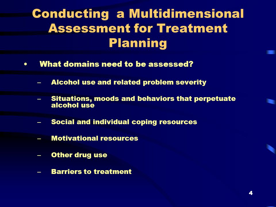 4 Conducting a Multidimensional Assessment for Treatment Planning What domains need to be assessed.