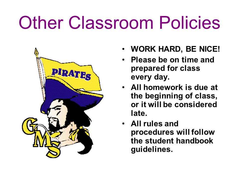 Other Classroom Policies WORK HARD, BE NICE! Please be on time and prepared for class every day. All homework is due at the beginning of class, or it