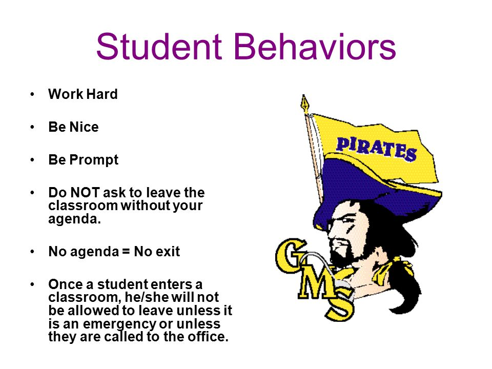 Student Behaviors Work Hard Be Nice Be Prompt Do NOT ask to leave the classroom without your agenda.