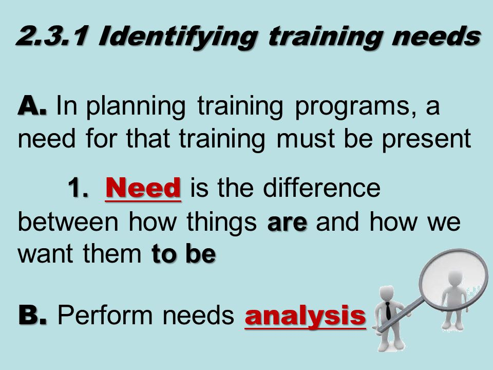 2.3.1 Identifying training needs A. A.