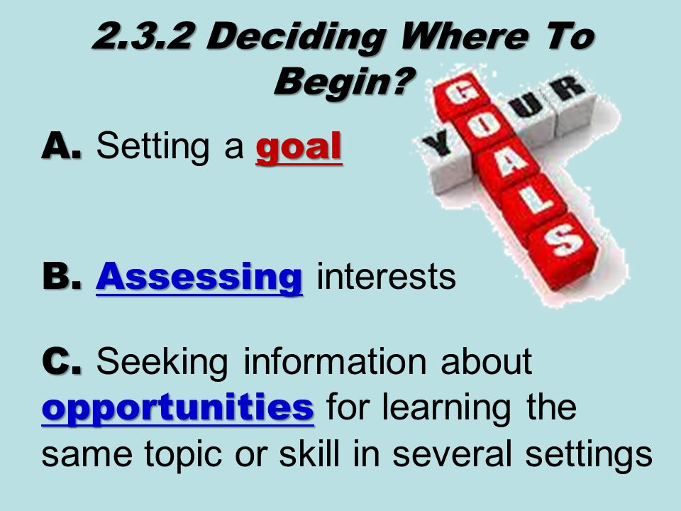 2.3.2 Deciding Where To Begin. A. goal A. Setting a goal B.