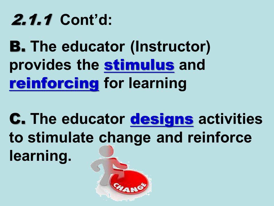 2.1.1 2.1.1 Cont'd: B. stimulus reinforcing B.
