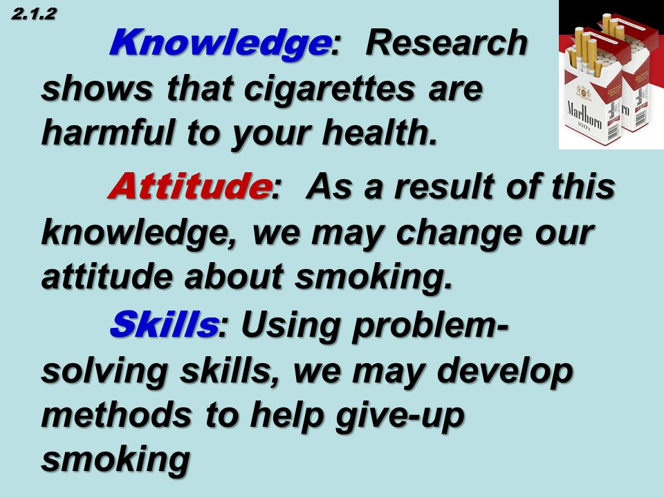 Knowledge : Research shows that cigarettes are harmful to your health.