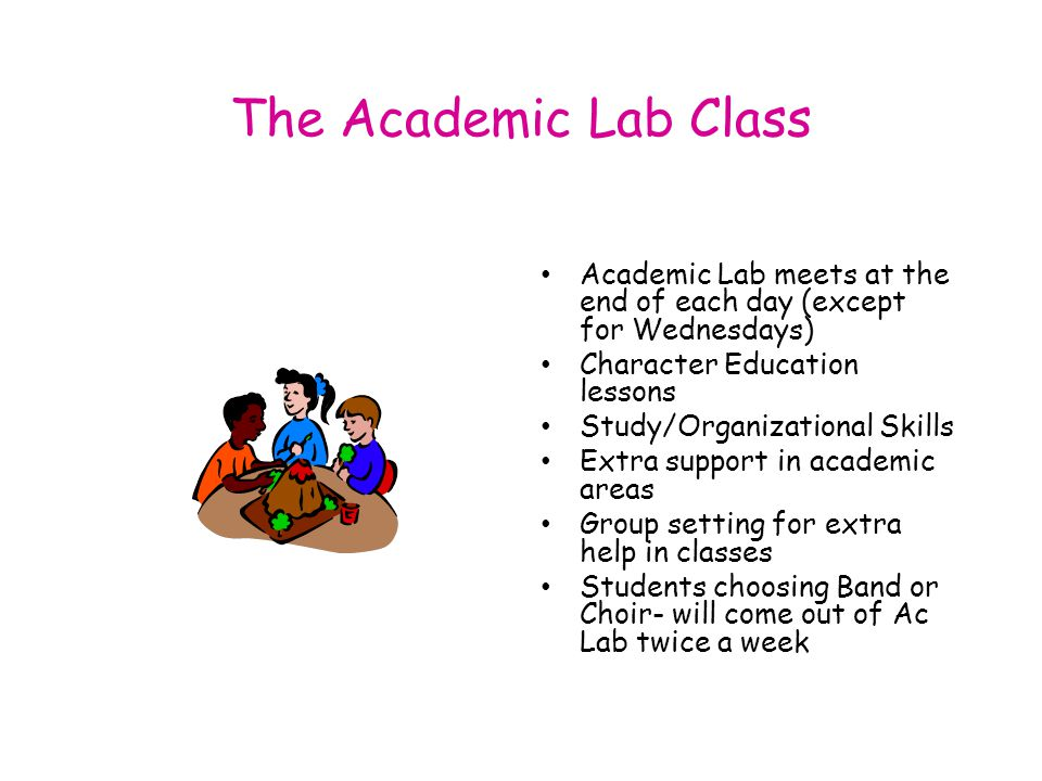 The Academic Lab Class Academic Lab meets at the end of each day (except for Wednesdays) Character Education lessons Study/Organizational Skills Extra support in academic areas Group setting for extra help in classes Students choosing Band or Choir- will come out of Ac Lab twice a week