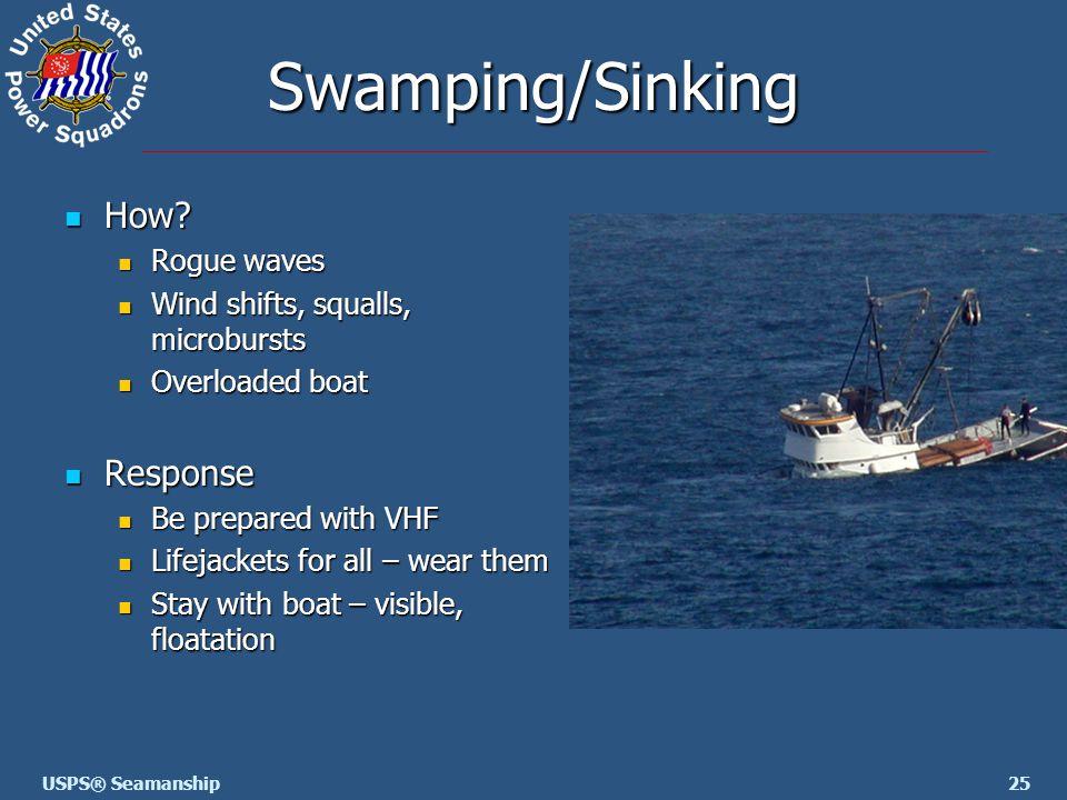 25USPS® Seamanship Swamping/Sinking How? How? Rogue waves Rogue waves Wind shifts, squalls, microbursts Wind shifts, squalls, microbursts Overloaded b