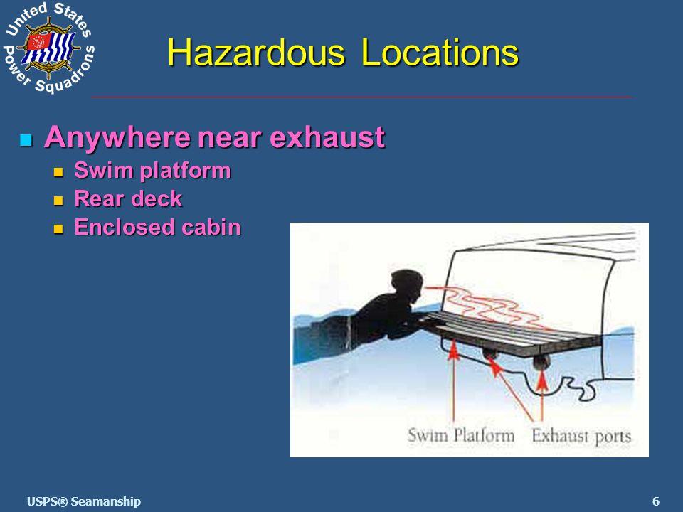 6USPS® Seamanship Hazardous Locations Anywhere near exhaust Anywhere near exhaust Swim platform Swim platform Rear deck Rear deck Enclosed cabin Enclo