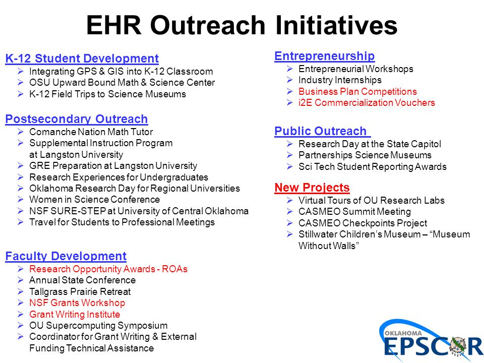 EHR Outreach Initiatives Entrepreneurship  Entrepreneurial Workshops  Industry Internships  Business Plan Competitions  i2E Commercialization Vouchers Public Outreach  Research Day at the State Capitol  Partnerships Science Museums  Sci Tech Student Reporting Awards K-12 Student Development  Integrating GPS & GIS into K-12 Classroom  OSU Upward Bound Math & Science Center  K-12 Field Trips to Science Museums Postsecondary Outreach  Comanche Nation Math Tutor  Supplemental Instruction Program at Langston University  GRE Preparation at Langston University  Research Experiences for Undergraduates  Oklahoma Research Day for Regional Universities  Women in Science Conference  NSF SURE-STEP at University of Central Oklahoma  Travel for Students to Professional Meetings Faculty Development  Research Opportunity Awards - ROAs  Annual State Conference  Tallgrass Prairie Retreat  NSF Grants Workshop  Grant Writing Institute  OU Supercomputing Symposium  Coordinator for Grant Writing & External Funding Technical Assistance New Projects  Virtual Tours of OU Research Labs  CASMEO Summit Meeting  CASMEO Checkpoints Project  Stillwater Children's Museum – Museum Without Walls