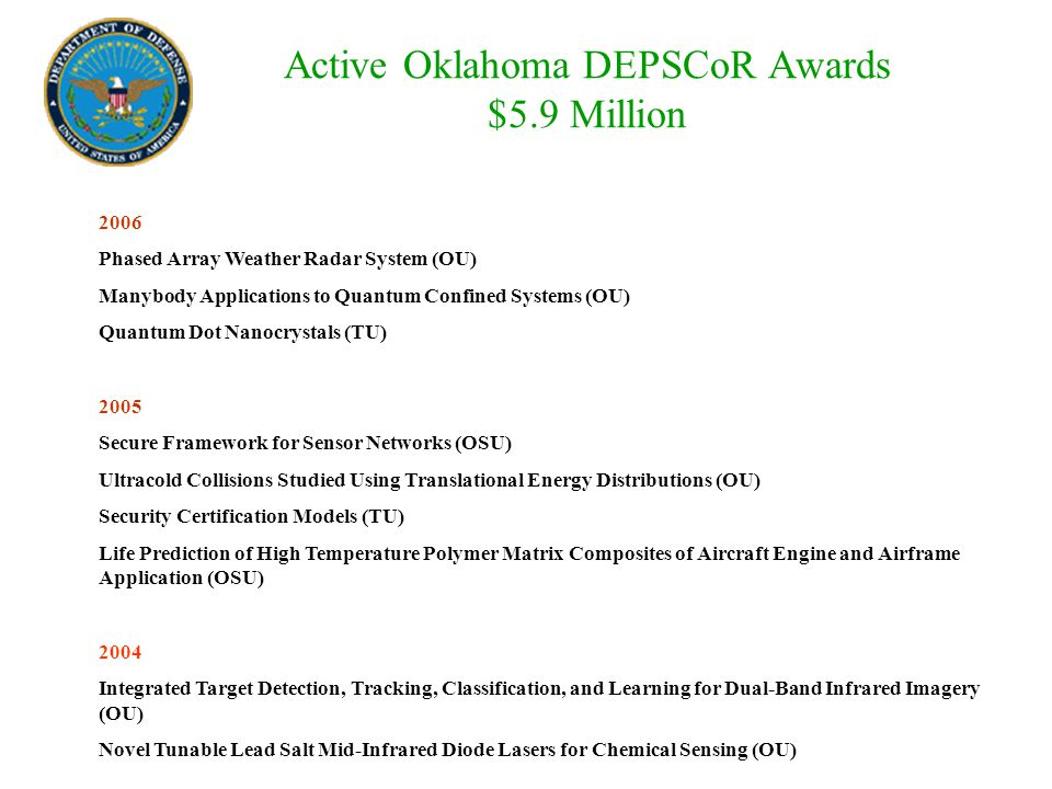 Active Oklahoma DEPSCoR Awards $5.9 Million 2006 Phased Array Weather Radar System (OU) Manybody Applications to Quantum Confined Systems (OU) Quantum Dot Nanocrystals (TU) 2005 Secure Framework for Sensor Networks (OSU) Ultracold Collisions Studied Using Translational Energy Distributions (OU) Security Certification Models (TU) Life Prediction of High Temperature Polymer Matrix Composites of Aircraft Engine and Airframe Application (OSU) 2004 Integrated Target Detection, Tracking, Classification, and Learning for Dual-Band Infrared Imagery (OU) Novel Tunable Lead Salt Mid-Infrared Diode Lasers for Chemical Sensing (OU)