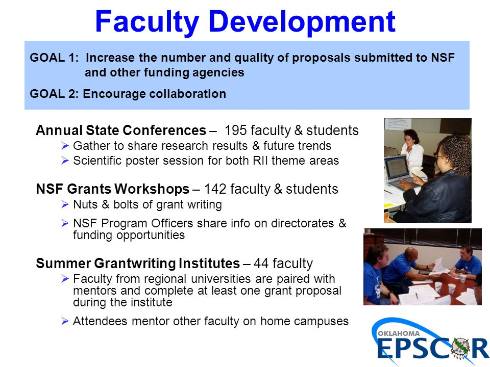 Faculty Development Annual State Conferences – 195 faculty & students  Gather to share research results & future trends  Scientific poster session f