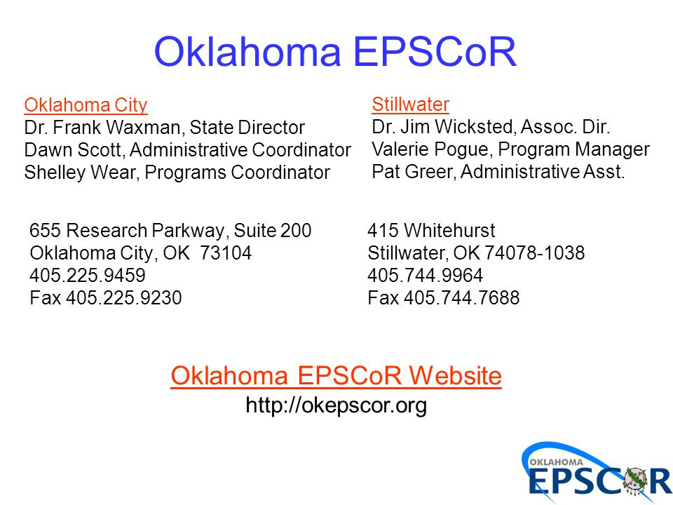 655 Research Parkway, Suite 200 Oklahoma City, OK 73104 405.225.9459 Fax 405.225.9230 Oklahoma City Dr. Frank Waxman, State Director Dawn Scott, Admin