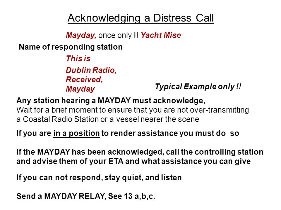 Acknowledging a Distress Call Name of responding station This is Dublin Radio, Received, Mayday Mayday, once only !! Yacht Mise Any station hearing a