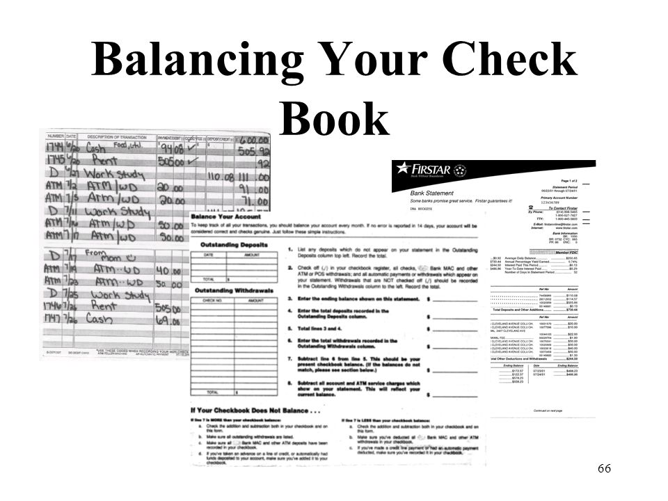 66 Balancing Your Check Book