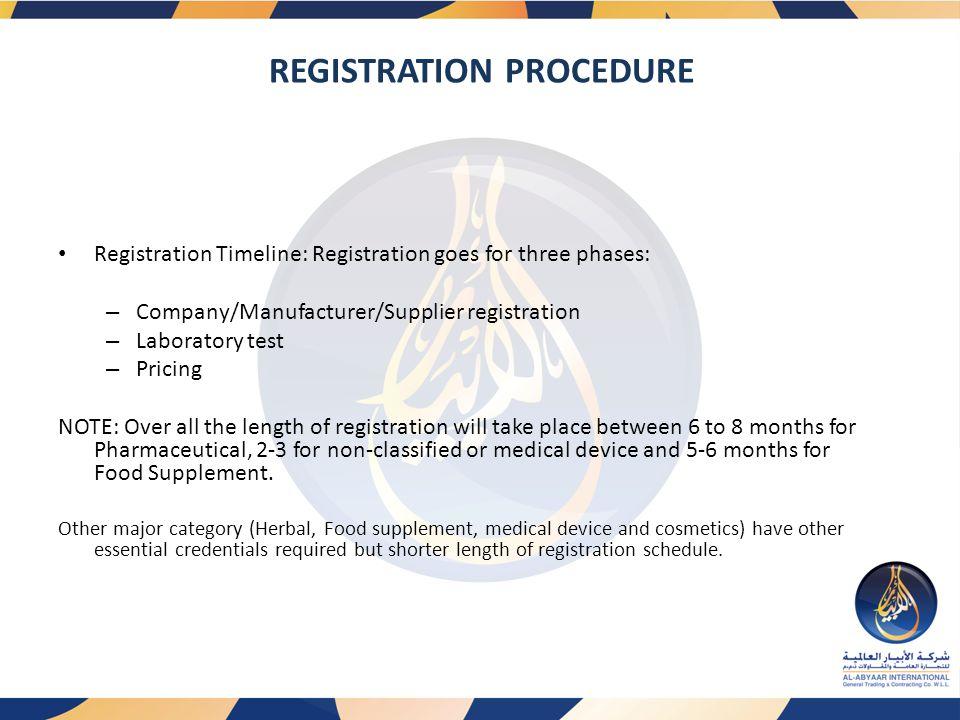 REGISTRATION PROCEDURE Registration Timeline: Registration goes for three phases: – Company/Manufacturer/Supplier registration – Laboratory test – Pri