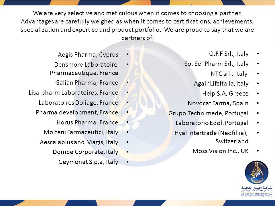 Olecule Skin Bionics, UK Medicom company, UK Recosmo, Canada Fidia Pharmaceutici, S.p.a, USA Alcis Health Inc., USA Fziomed Inc., USA Iceland Health, FL Grupo Impresarial Labiofam, Cuba Zenta Healthcare Pvt.