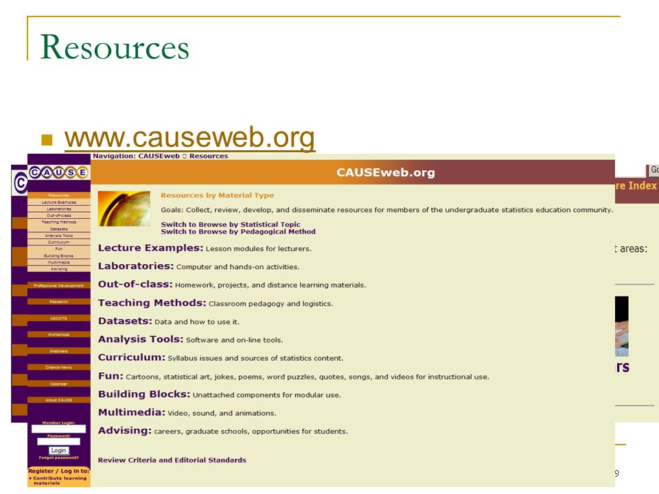 Resources www.causeweb.org APSA Conference, Sept 2010119