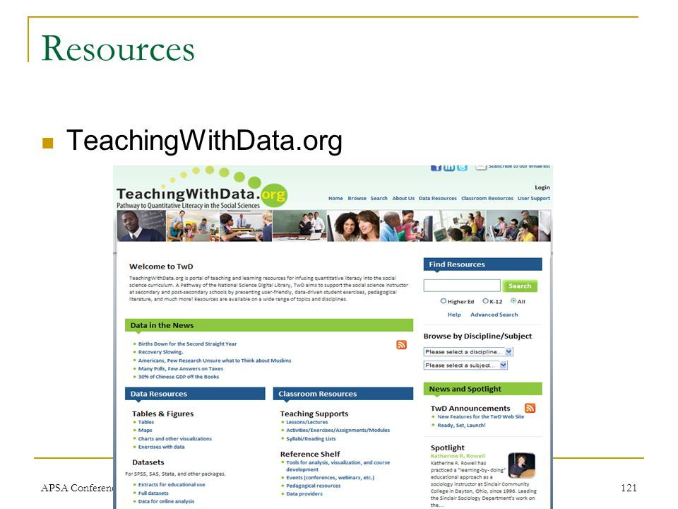 Resources TeachingWithData.org APSA Conference, Sept 2010121
