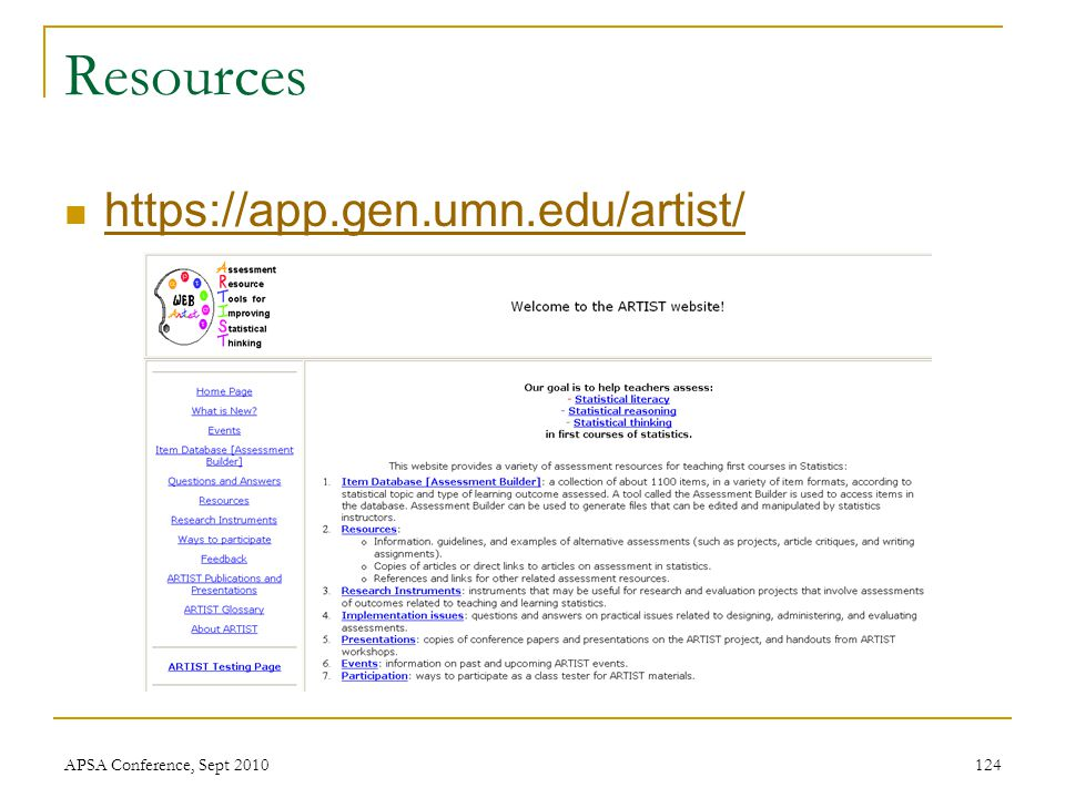 Resources https://app.gen.umn.edu/artist/ APSA Conference, Sept 2010124