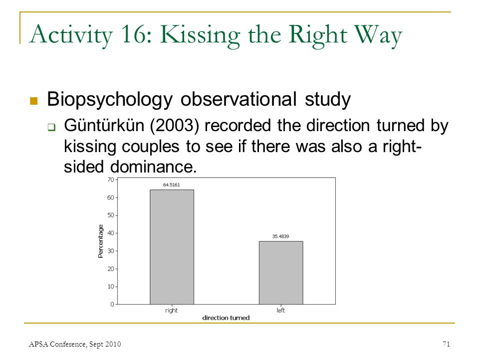 Activity 16: Kissing the Right Way Biopsychology observational study  Güntürkün (2003) recorded the direction turned by kissing couples to see if the