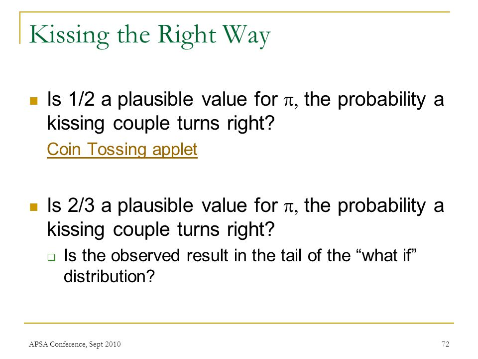 Kissing the Right Way Is 1/2 a plausible value for  the probability a kissing couple turns right? Coin Tossing applet Is 2/3 a plausible value for
