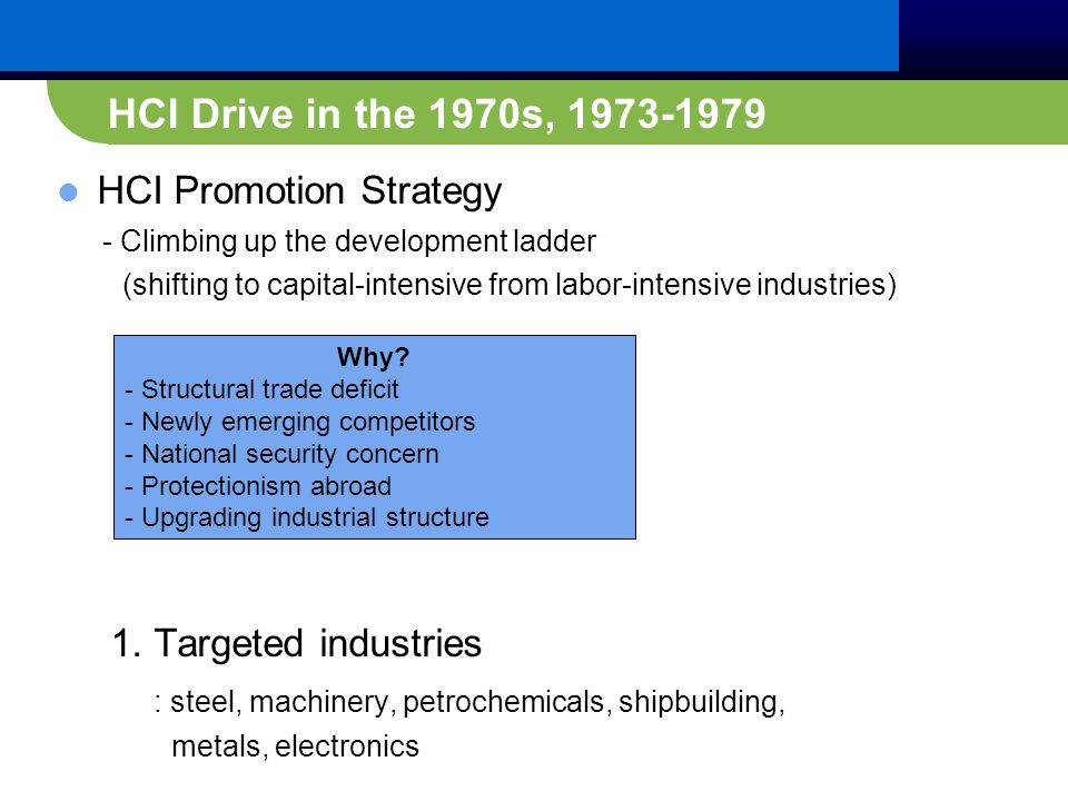 HCI Drive in the 1970s, 1973-1979 HCI Promotion Strategy - Climbing up the development ladder (shifting to capital-intensive from labor-intensive industries) 1.