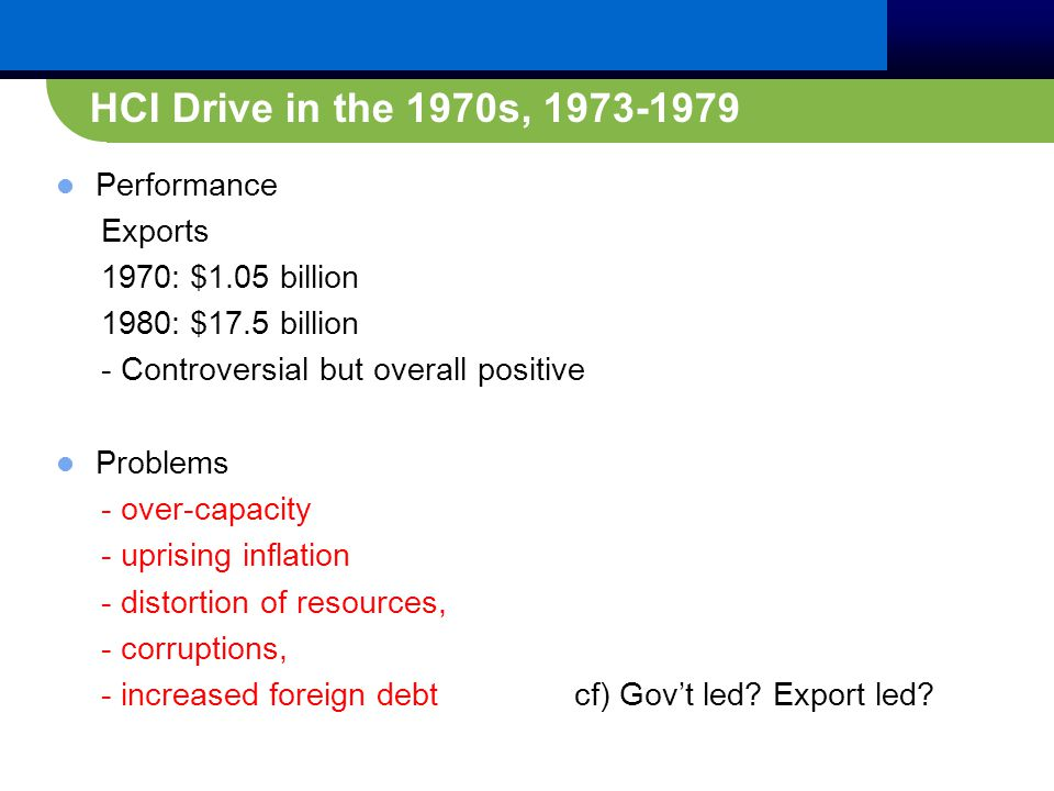 Performance Exports 1970: $1.05 billion 1980: $17.5 billion - Controversial but overall positive Problems - over-capacity - uprising inflation - distortion of resources, - corruptions, - increased foreign debt cf) Gov't led.