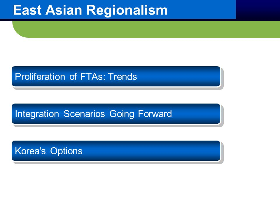 East Asian Regionalism Proliferation of FTAs: Trends Integration Scenarios Going Forward Korea s Options