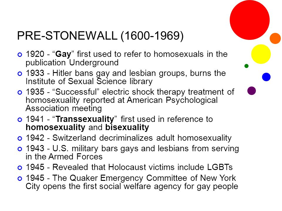 "PRE-STONEWALL (1600-1969) 1920 - ""Gay"" first used to refer to homosexuals in the publication Underground 1933 - Hitler bans gay and lesbian groups, bu"