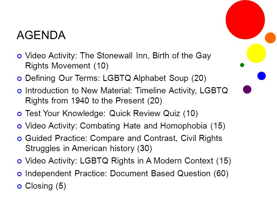 AGENDA Video Activity: The Stonewall Inn, Birth of the Gay Rights Movement (10) Defining Our Terms: LGBTQ Alphabet Soup (20) Introduction to New Mater