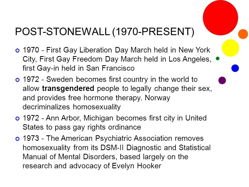 POST-STONEWALL (1970-PRESENT) 1970 - First Gay Liberation Day March held in New York City, First Gay Freedom Day March held in Los Angeles, first Gay-