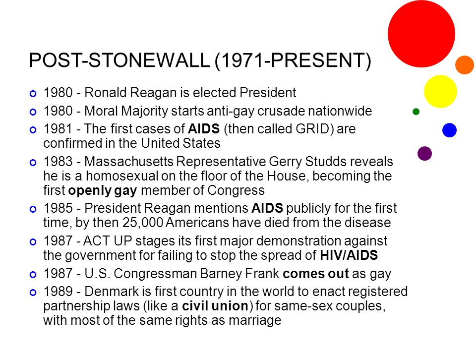 POST-STONEWALL (1971-PRESENT) 1980 - Ronald Reagan is elected President 1980 - Moral Majority starts anti-gay crusade nationwide 1981 - The first case
