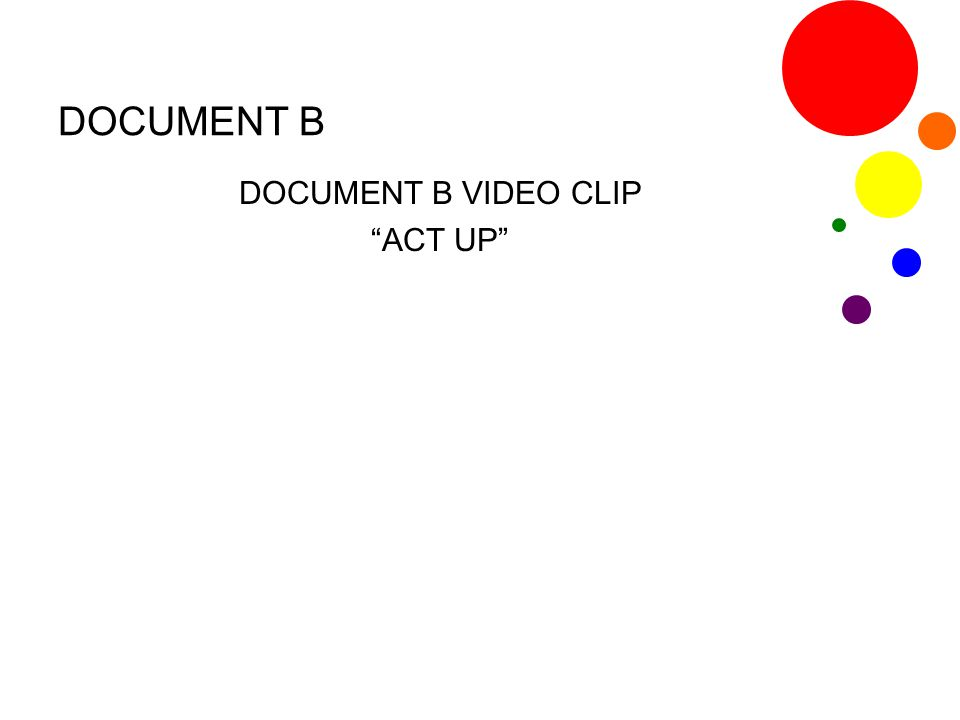 "DOCUMENT B DOCUMENT B VIDEO CLIP ""ACT UP"""