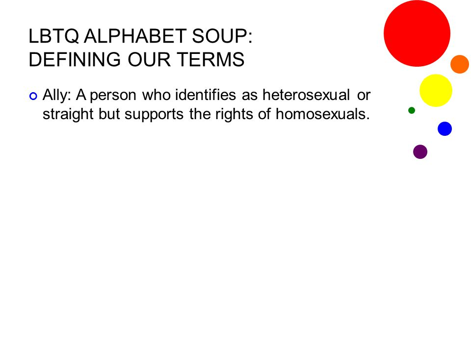 LBTQ ALPHABET SOUP: DEFINING OUR TERMS Bisexual: A term for men or women who identify themselves as being attracted to both other men and other women.