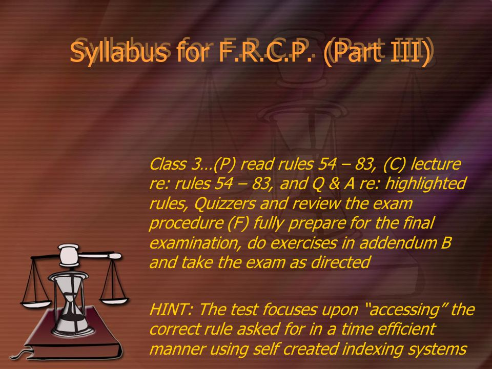 Syllabus for F.R.C.P.