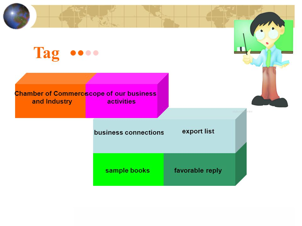 Tag sample booksfavorable reply Chamber of Commerce and Industry business connections export list scope of our business activities