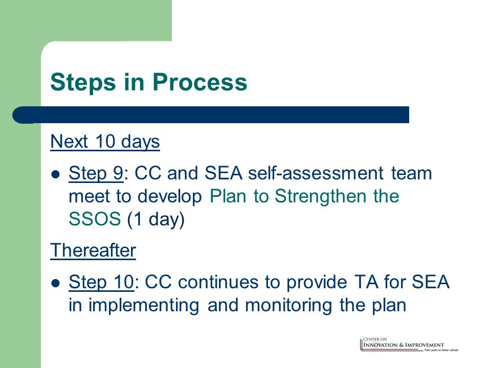 Steps in Process Next 10 days Step 9: CC and SEA self-assessment team meet to develop Plan to Strengthen the SSOS (1 day) Thereafter Step 10: CC continues to provide TA for SEA in implementing and monitoring the plan