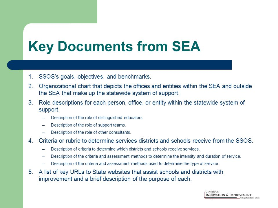 Key Documents from SEA 1.SSOS's goals, objectives, and benchmarks.