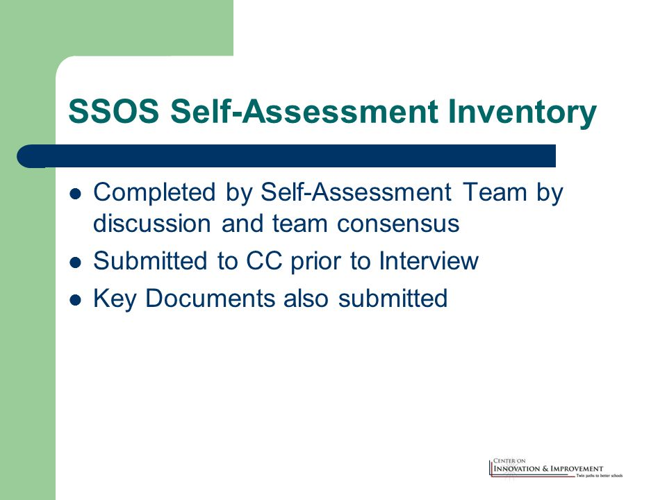 SSOS Self-Assessment Inventory Completed by Self-Assessment Team by discussion and team consensus Submitted to CC prior to Interview Key Documents also submitted